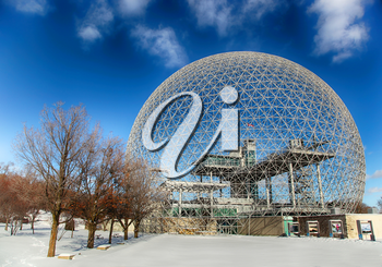 MONTREAL, CANADA - JANUARY 16, 2015: The Biosphere is a museum in Montreal dedicated to the environment. It was the pavilion of the United States during Universal exposition in 1967.