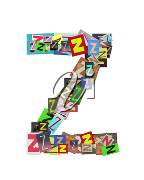 Alphabet collection Capital Z, with the letter being formed with a collage of smaller images, of both capital and lowercase letters, in a variety of fonts and colours. Isolated on white background